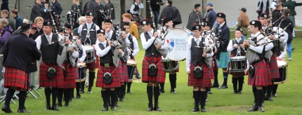 The band at the line, World Pipe Band Championships, Glasgow Green, Scotland, August 2018